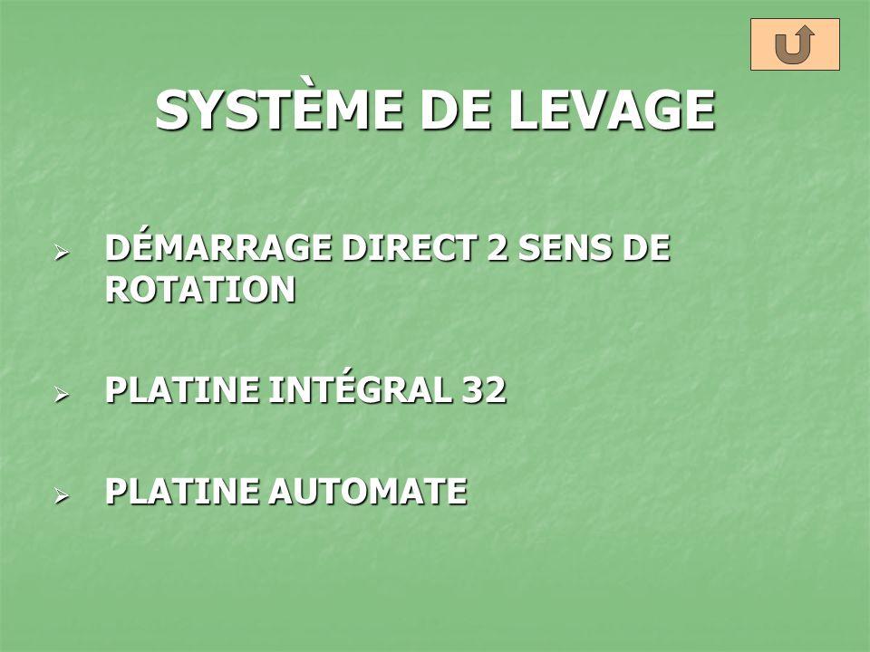 SYSTÈME DE LEVAGE DÉMARRAGE DIRECT 2 SENS DE ROTATION DÉMARRAGE DIRECT 2 SENS DE ROTATION PLATINE INTÉGRAL 32 PLATINE INTÉGRAL 32 PLATINE AUTOMATE PLA
