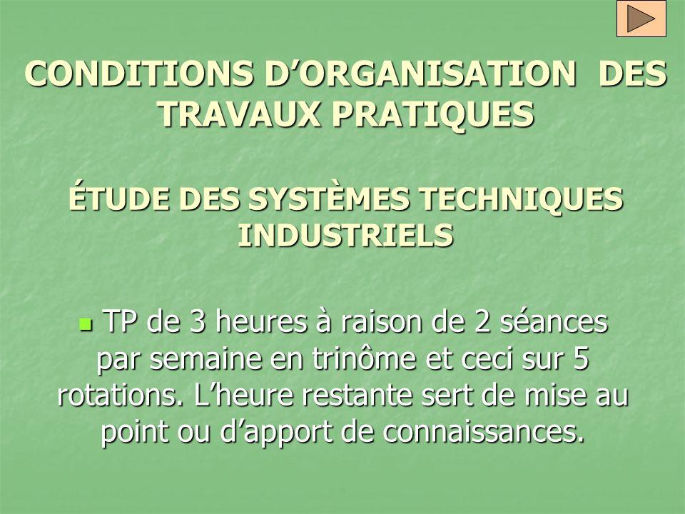 CONDITIONS DORGANISATION DES TRAVAUX PRATIQUES ÉTUDE DES SYSTÈMES TECHNIQUES INDUSTRIELS TP de 3 heures à raison de 2 séances par semaine en trinôme e