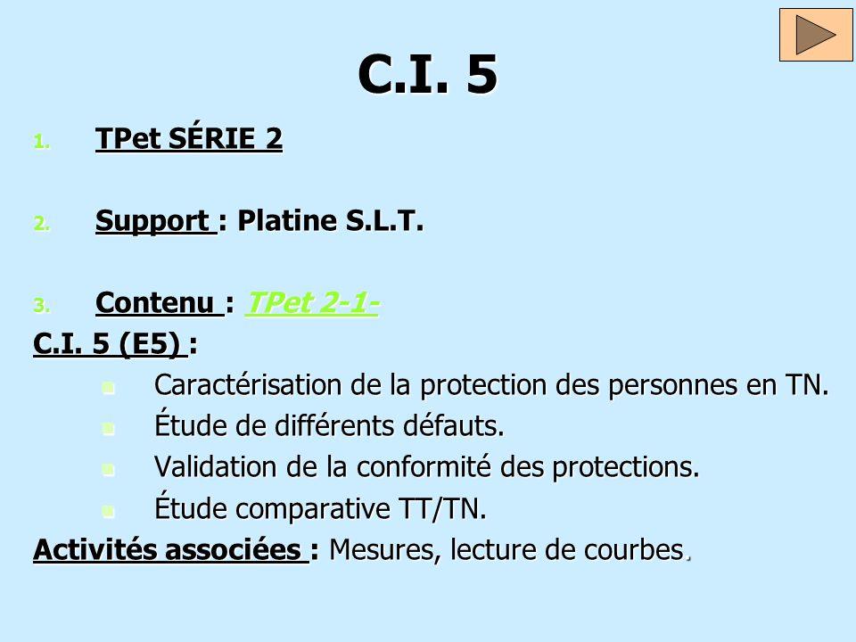 C.I. 5 1. TPet SÉRIE 2 2. Support : Platine S.L.T. 3. Contenu : TPet 2-1- TPet 2-1-TPet 2-1- C.I. 5 (E5) : Caractérisation de la protection des person