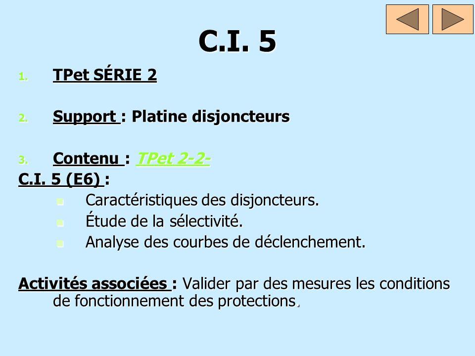 C.I. 5 1. TPet SÉRIE 2 2. Support : Platine disjoncteurs 3. Contenu : TPet 2-2- TPet 2-2-TPet 2-2- C.I. 5 (E6) : Caractéristiques des disjoncteurs. Ca