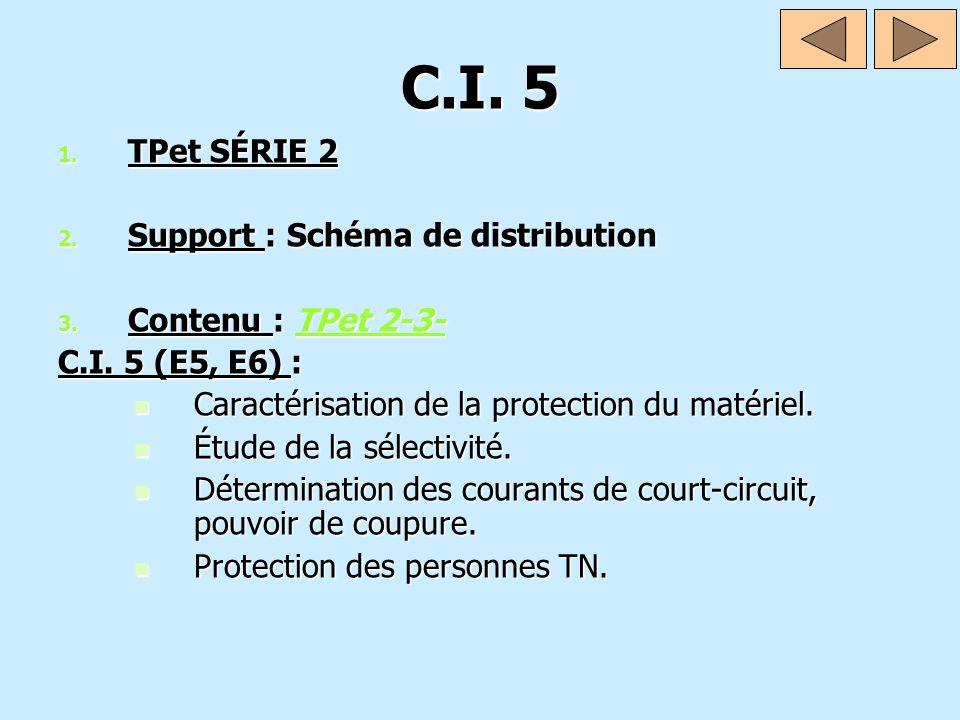 C.I. 5 1. TPet SÉRIE 2 2. Support : Schéma de distribution 3. Contenu : TPet 2-3- TPet 2-3-TPet 2-3- C.I. 5 (E5, E6) : Caractérisation de la protectio