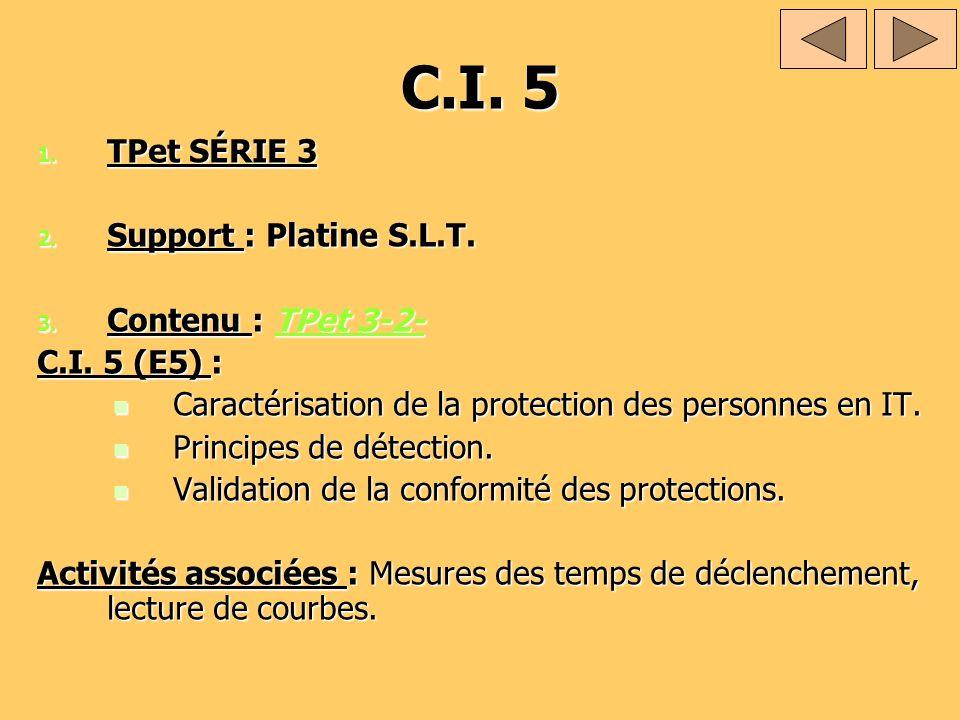 C.I. 5 1. TPet SÉRIE 3 2. Support : Platine S.L.T. 3. Contenu : TPet 3-2- TPet 3-2-TPet 3-2- C.I. 5 (E5) : Caractérisation de la protection des person