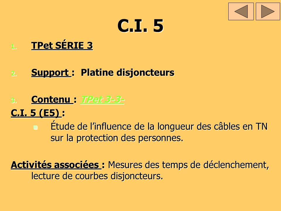 C.I. 5 1. TPet SÉRIE 3 2. Support : Platine disjoncteurs 3. Contenu : TPet 3-3- TPet 3-3-TPet 3-3- C.I. 5 (E5) : Étude de linfluence de la longueur de