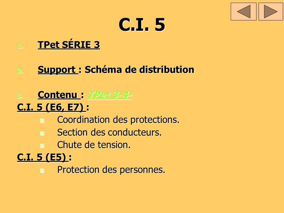 C.I. 5 1. TPet SÉRIE 3 2. Support : Schéma de distribution 3. Contenu : TPet 3-4- TPet 3-4-TPet 3-4- C.I. 5 (E6, E7) : Coordination des protections. C