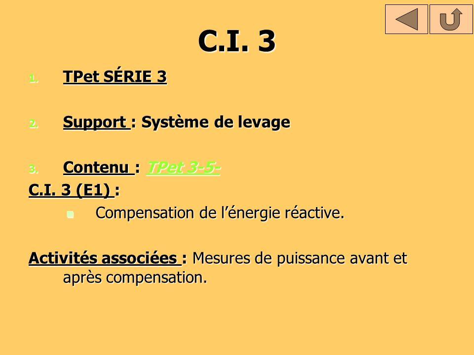 C.I. 3 1. TPet SÉRIE 3 2. Support : Système de levage 3. Contenu : TPet 3-5- TPet 3-5-TPet 3-5- C.I. 3 (E1) : Compensation de lénergie réactive. Compe