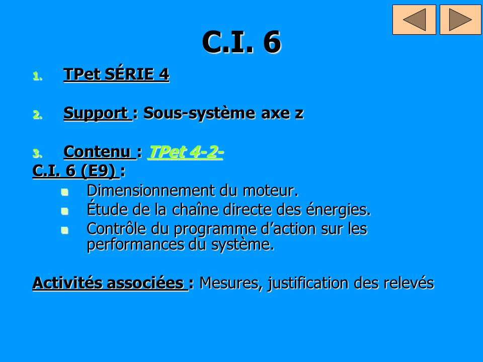 C.I.6 & 7 1. TPet SÉRIE 4 2. Support : Ouvre porte 3.