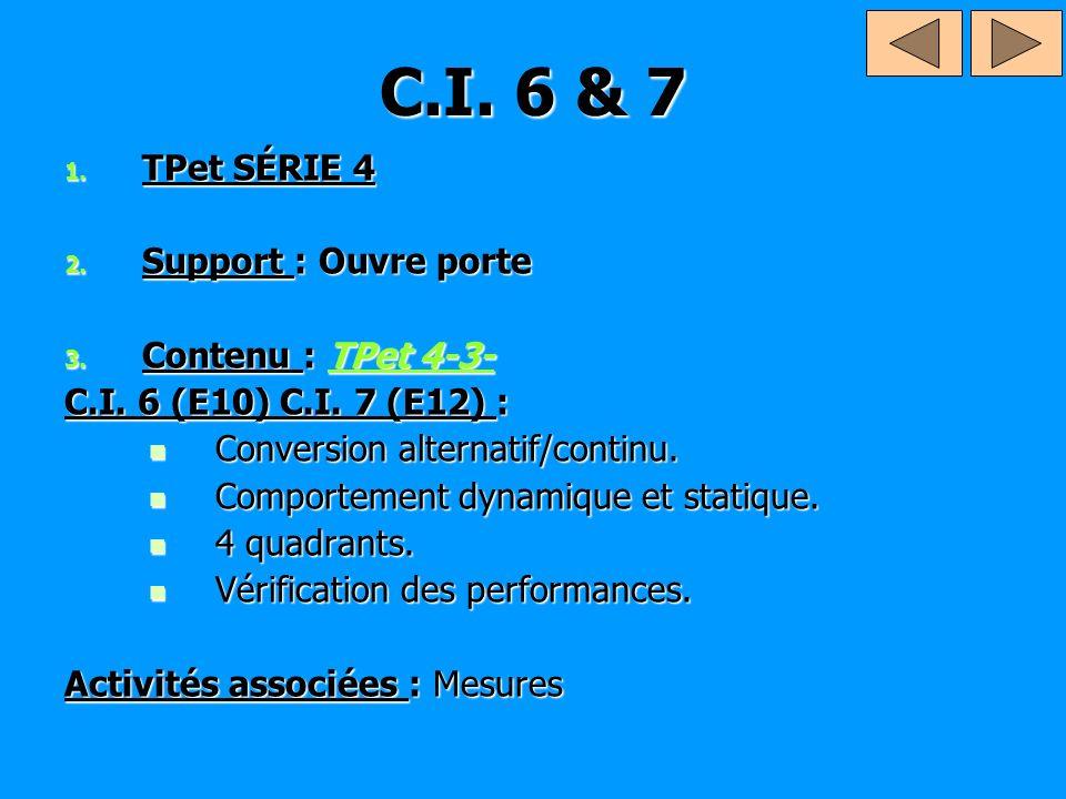 C.I. 6 & 7 1. TPet SÉRIE 4 2. Support : Ouvre porte 3. Contenu : TPet 4-3- TPet 4-3-TPet 4-3- C.I. 6 (E10) C.I. 7 (E12) : Conversion alternatif/contin