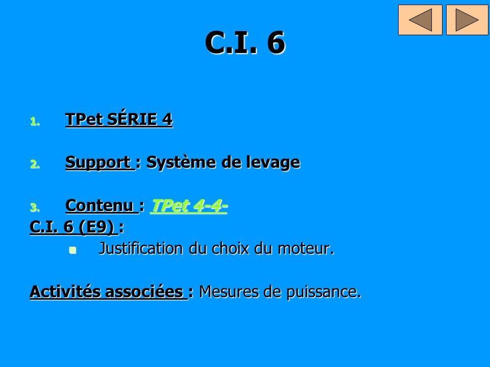 C.I. 6 1. TPet SÉRIE 4 2. Support : Système de levage 3. Contenu : TPet 4-4- TPet 4-4-TPet 4-4- C.I. 6 (E9) : Justification du choix du moteur. Justif