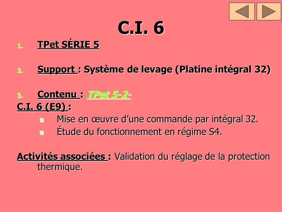 C.I. 6 1. TPet SÉRIE 5 2. Support : Système de levage (Platine intégral 32) 3. Contenu : TPet 5-2- TPet 5-2-TPet 5-2- C.I. 6 (E9) : Mise en œuvre dune