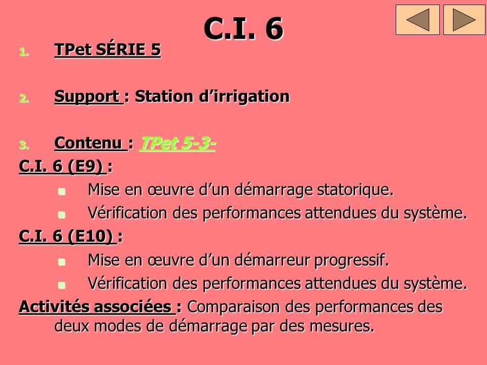C.I. 6 1. TPet SÉRIE 5 2. Support : Station dirrigation 3. Contenu : TPet 5-3- TPet 5-3-TPet 5-3- C.I. 6 (E9) : Mise en œuvre dun démarrage statorique
