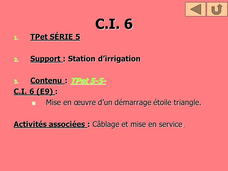 C.I. 6 1. TPet SÉRIE 5 2. Support : Station dirrigation 3. Contenu : TPet 5-5- TPet 5-5-TPet 5-5- C.I. 6 (E9) : Mise en œuvre dun démarrage étoile tri