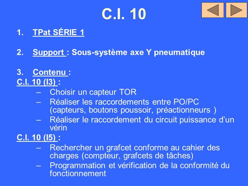 C.I. 10 1.TPat SÉRIE 1 2.Support : Sous-système axe Y pneumatique 3.Contenu : C.I. 10 (I3) : –Choisir un capteur TOR –Réaliser les raccordements entre