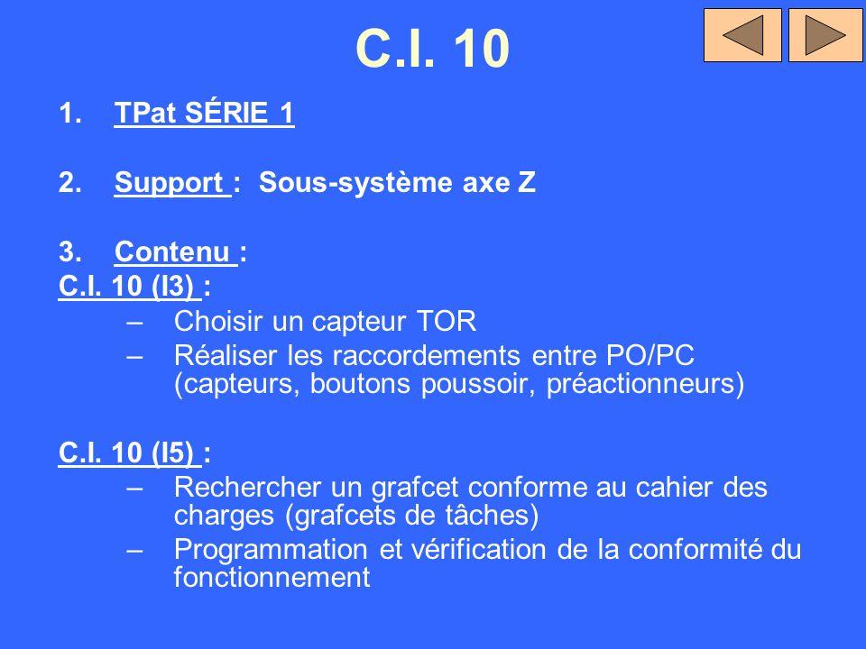 C.I. 10 1.TPat SÉRIE 1 2.Support : Sous-système axe Z 3.Contenu : C.I. 10 (I3) : –Choisir un capteur TOR –Réaliser les raccordements entre PO/PC (capt
