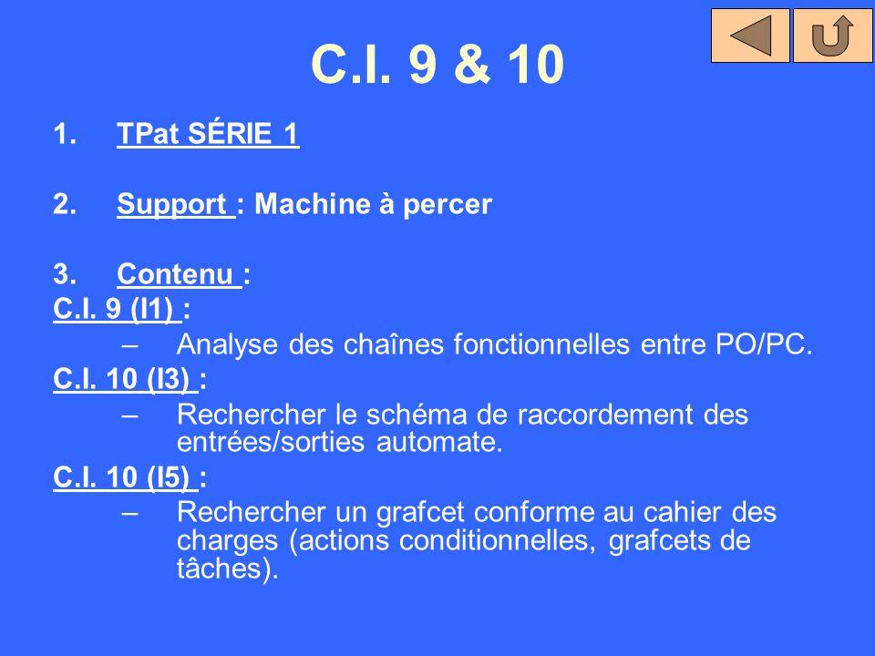 C.I. 9 & 10 1.TPat SÉRIE 1 2.Support : Machine à percer 3.Contenu : C.I. 9 (I1) : –Analyse des chaînes fonctionnelles entre PO/PC. C.I. 10 (I3) : –Rec