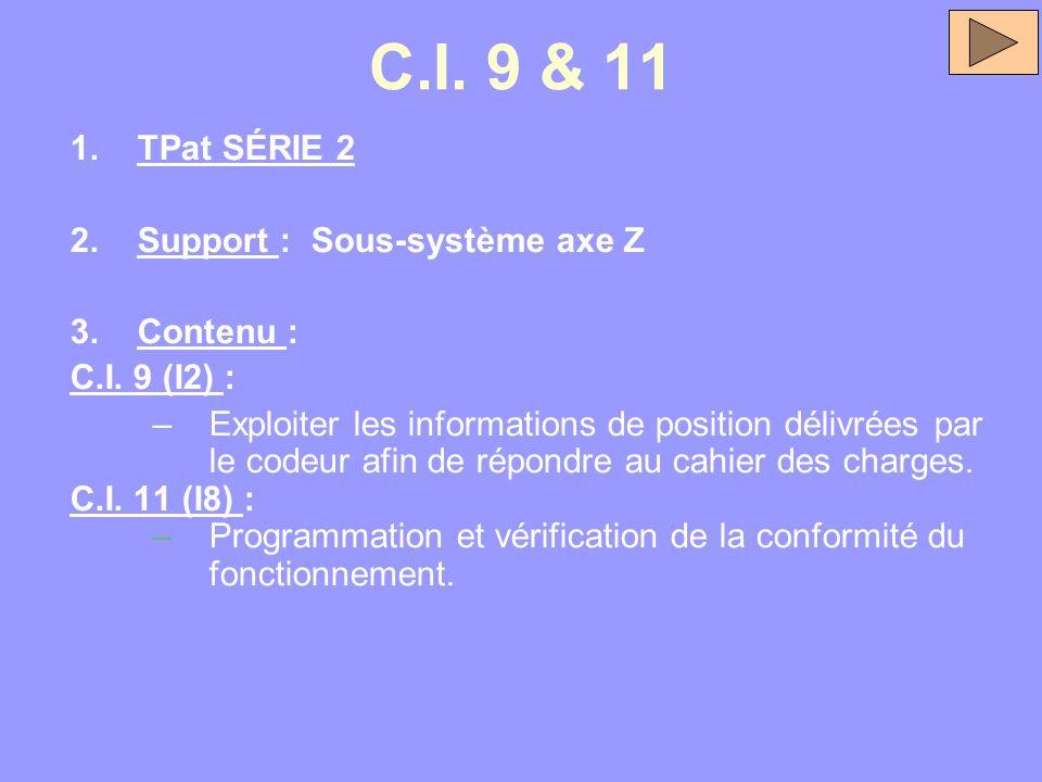C.I. 9 & 11 1.TPat SÉRIE 2 2.Support : Sous-système axe Z 3.Contenu : C.I. 9 (I2) : –Exploiter les informations de position délivrées par le codeur af