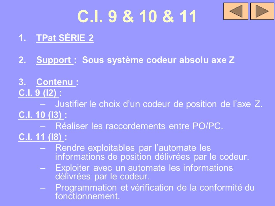 C.I. 9 & 10 & 11 1.TPat SÉRIE 2 2.Support : Sous système codeur absolu axe Z 3.Contenu : C.I. 9 (I2) : –Justifier le choix dun codeur de position de l