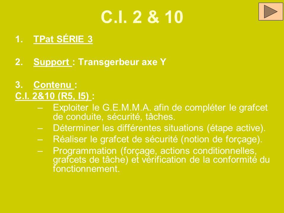 C.I. 2 & 10 1.TPat SÉRIE 3 2.Support : Transgerbeur axe Y 3.Contenu : C.I. 2&10 (R5, I5) : –Exploiter le G.E.M.M.A. afin de compléter le grafcet de co