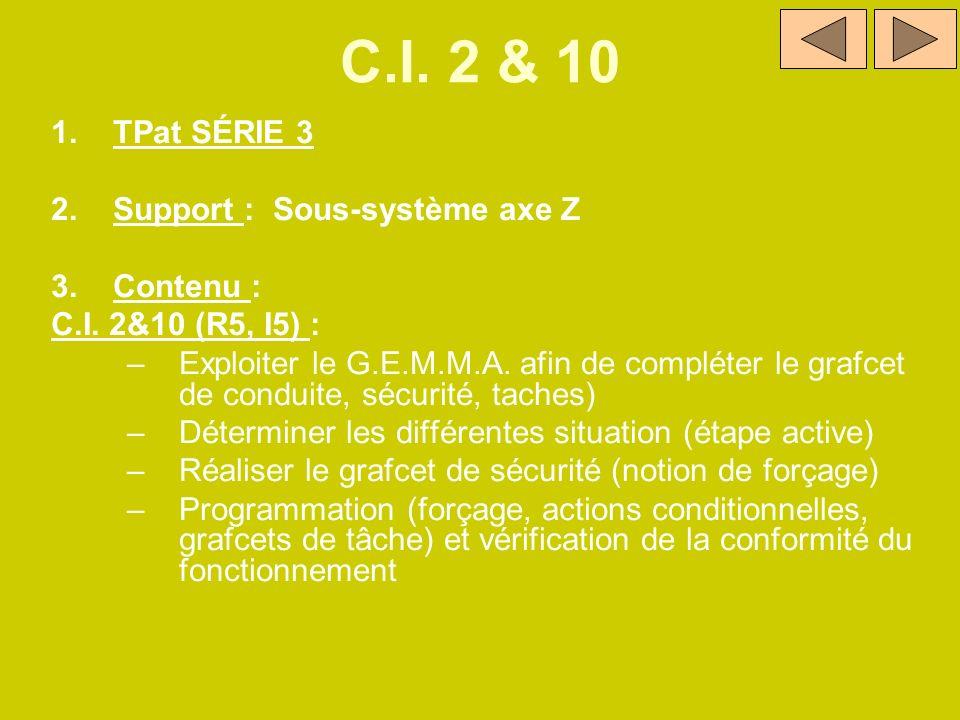 C.I. 2 & 10 1.TPat SÉRIE 3 2.Support : Sous-système axe Z 3.Contenu : C.I. 2&10 (R5, I5) : –Exploiter le G.E.M.M.A. afin de compléter le grafcet de co