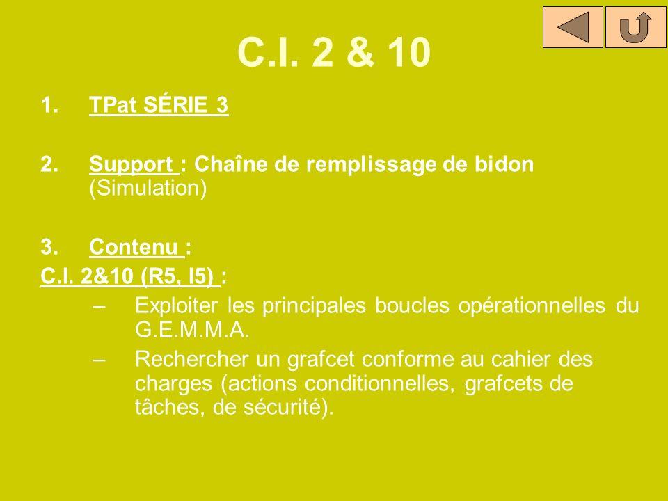 C.I. 2 & 10 1.TPat SÉRIE 3 2.Support : Chaîne de remplissage de bidon (Simulation) 3.Contenu : C.I. 2&10 (R5, I5) : –Exploiter les principales boucles