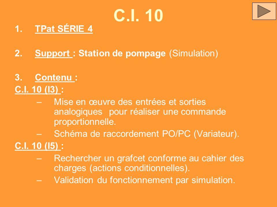 C.I. 10 1.TPat SÉRIE 4 2.Support : Station de pompage (Simulation) 3.Contenu : C.I. 10 (I3) : –Mise en œuvre des entrées et sorties analogiques pour r