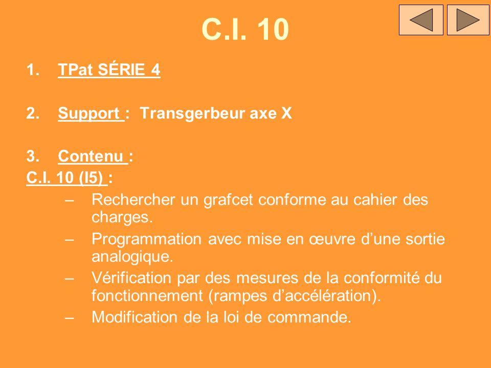C.I. 10 1.TPat SÉRIE 4 2.Support : Transgerbeur axe X 3.Contenu : C.I. 10 (I5) : –Rechercher un grafcet conforme au cahier des charges. –Programmation