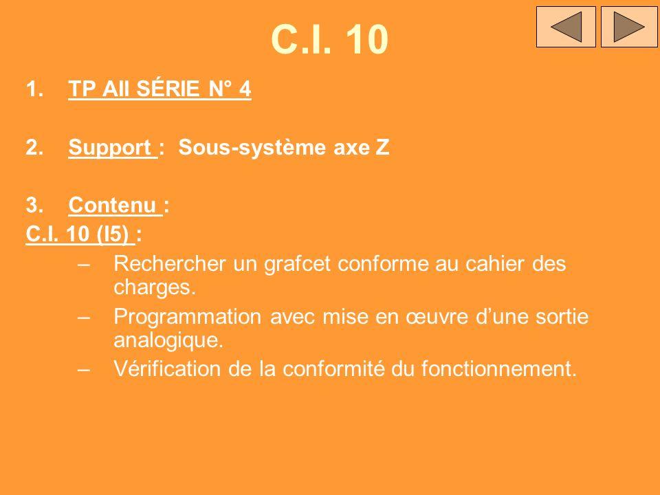 C.I. 10 1.TP AII SÉRIE N° 4 2.Support : Sous-système axe Z 3.Contenu : C.I. 10 (I5) : –Rechercher un grafcet conforme au cahier des charges. –Programm