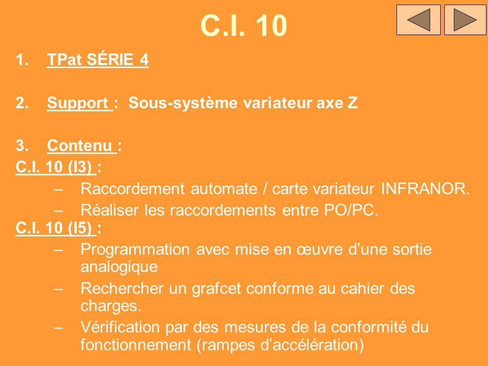 C.I. 10 1.TPat SÉRIE 4 2.Support : Sous-système variateur axe Z 3.Contenu : C.I. 10 (I3) : –Raccordement automate / carte variateur INFRANOR. –Réalise