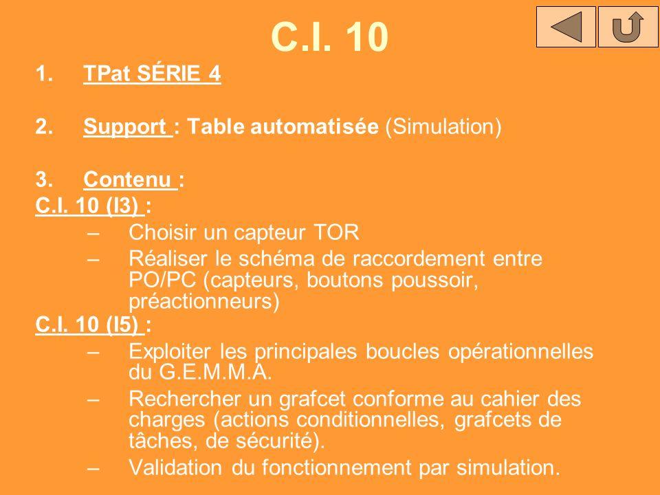 C.I. 10 1.TPat SÉRIE 4 2.Support : Table automatisée (Simulation) 3.Contenu : C.I. 10 (I3) : –Choisir un capteur TOR –Réaliser le schéma de raccordeme