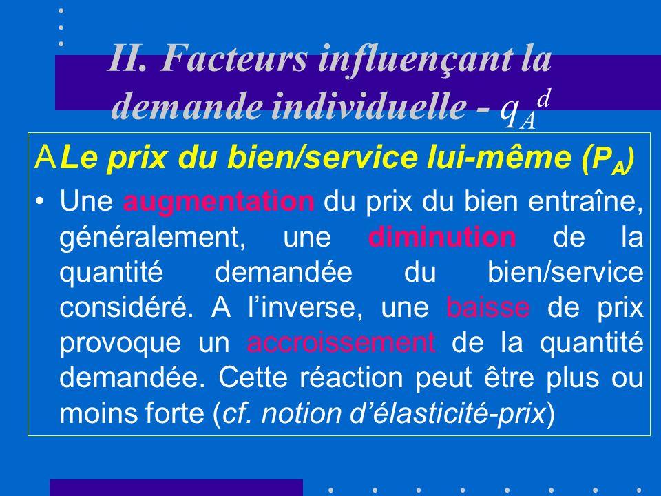 I. La fonction de demande La quantité demandée dun bien ou dun service représente le nombre dunités de ce bien ou service consommées au cours dune pér