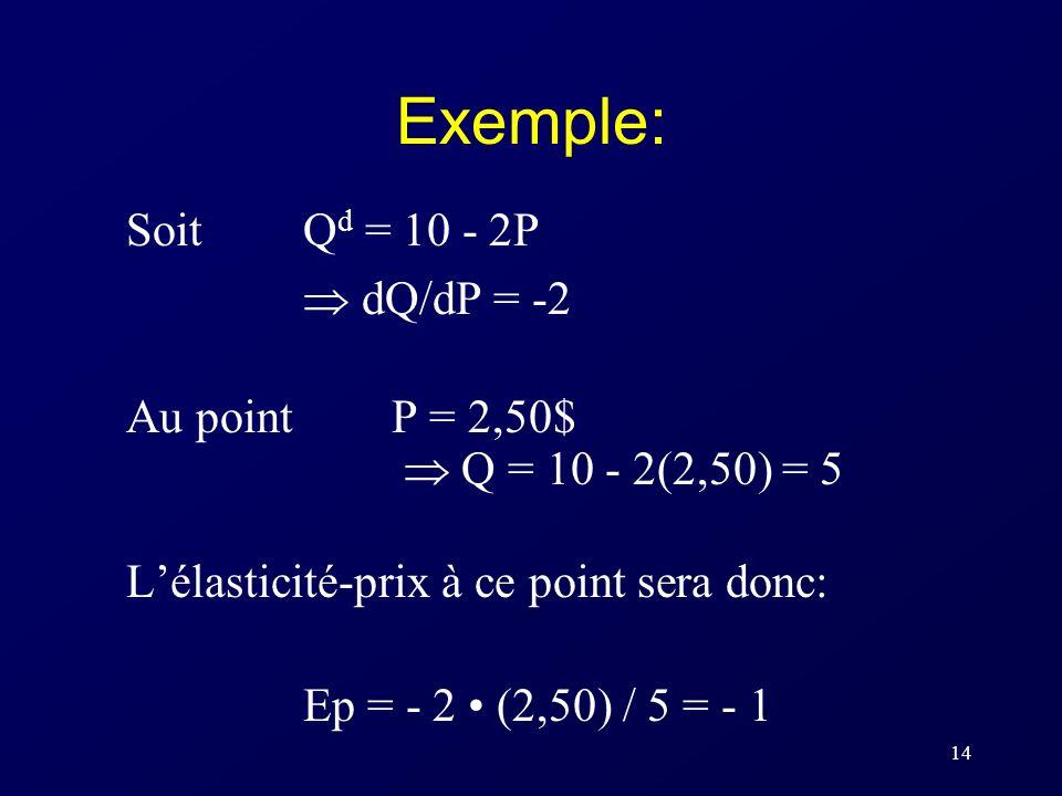 13 Calcul de lE P à partir de la fonction de demande Lorsquon connaît léquation de la fonction de demande, on utilise dQ/dP ( la dérivée de la fonctio