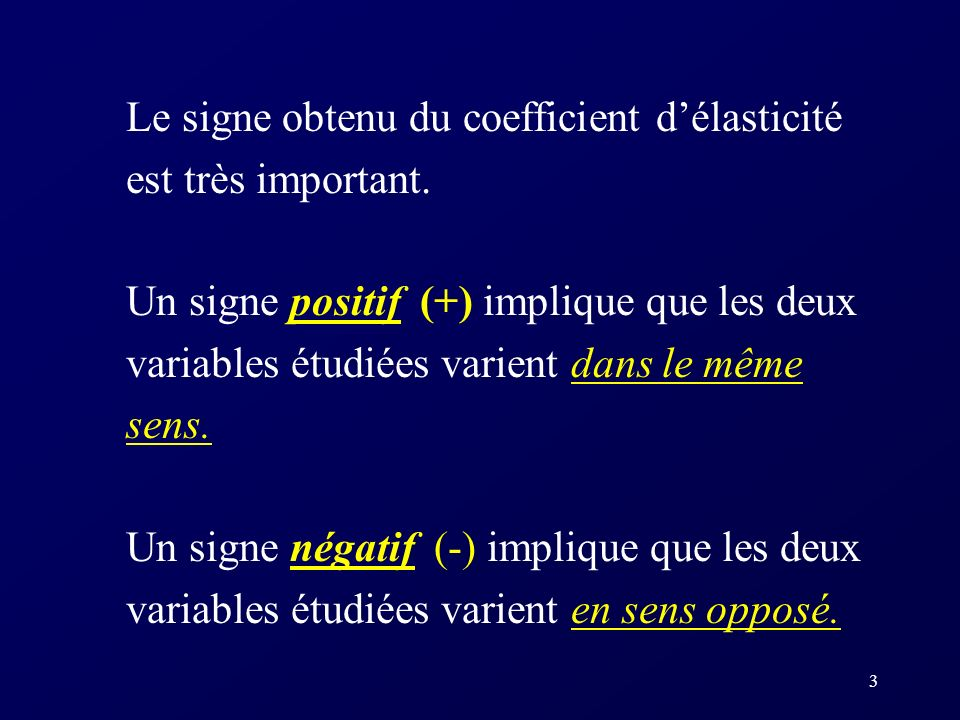 2 Définition Lélasticité est une mesure de la sensibilité dune variable par rapport à une autre. Un coefficient délasticité na pas dunité de mesure. L