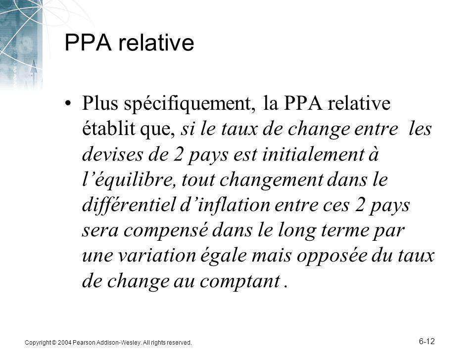 Copyright © 2004 Pearson Addison-Wesley. All rights reserved. 6-12 PPA relative Plus spécifiquement, la PPA relative établit que, si le taux de change