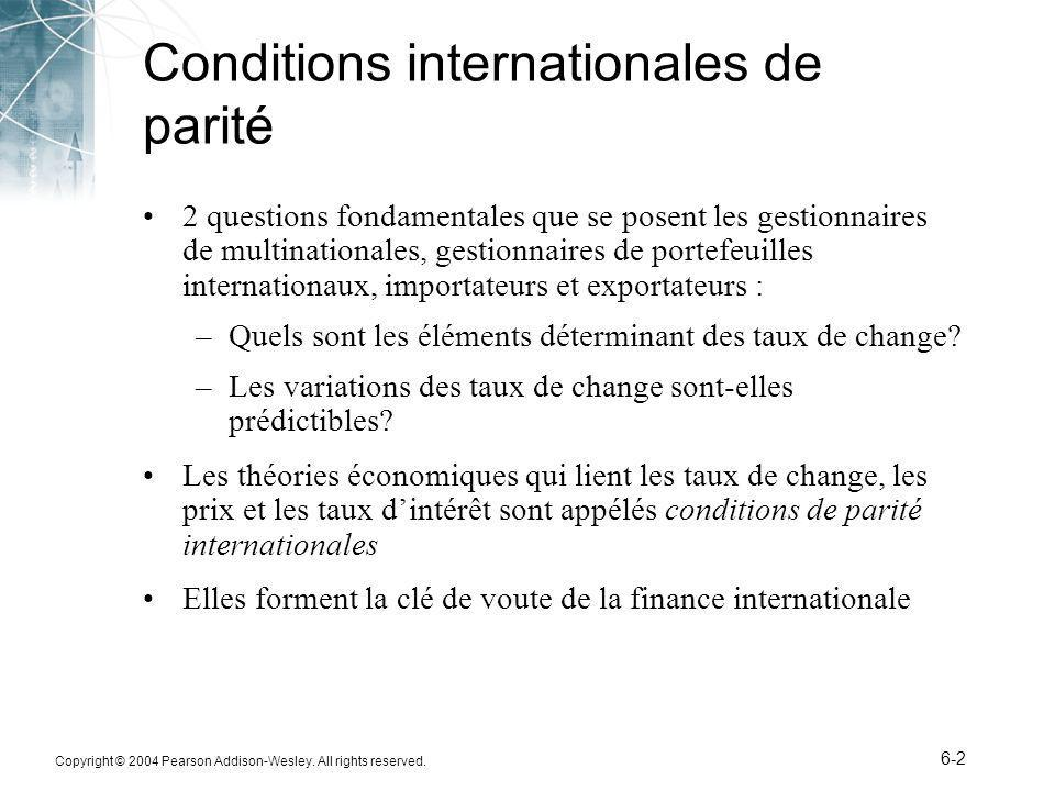 Copyright © 2004 Pearson Addison-Wesley. All rights reserved. 6-2 Conditions internationales de parité 2 questions fondamentales que se posent les ges