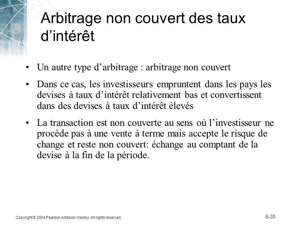 Copyright © 2004 Pearson Addison-Wesley. All rights reserved. 6-35 Arbitrage non couvert des taux dintérêt Un autre type darbitrage : arbitrage non co