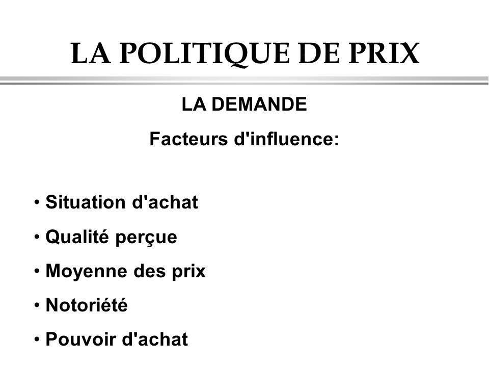 LA POLITIQUE DE PRIX LA DEMANDE Facteurs d'influence: Situation d'achat Qualité perçue Moyenne des prix Notoriété Pouvoir d'achat