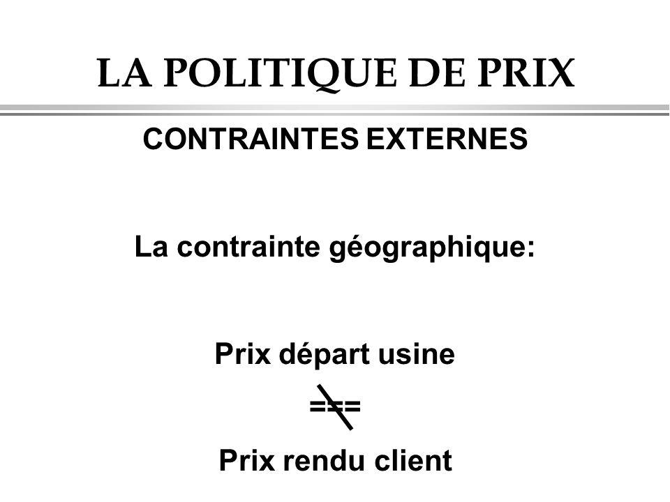 LA POLITIQUE DE PRIX CONTRAINTES EXTERNES La contrainte géographique: Prix départ usine === Prix rendu client