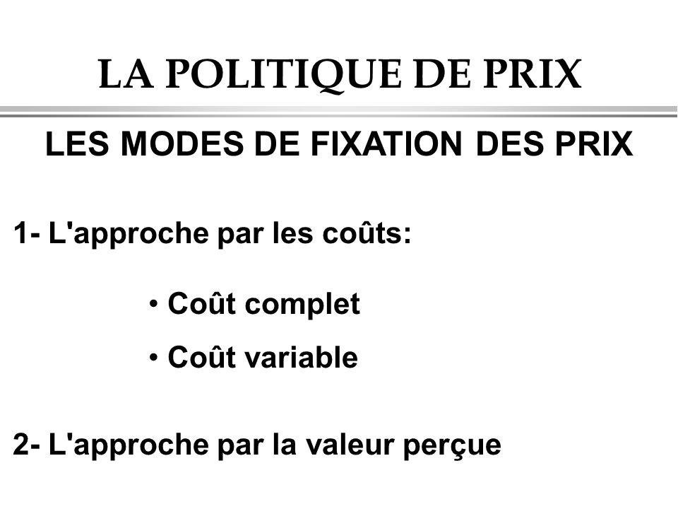 LA POLITIQUE DE PRIX LES MODES DE FIXATION DES PRIX 1- L'approche par les coûts: Coût complet Coût variable 2- L'approche par la valeur perçue