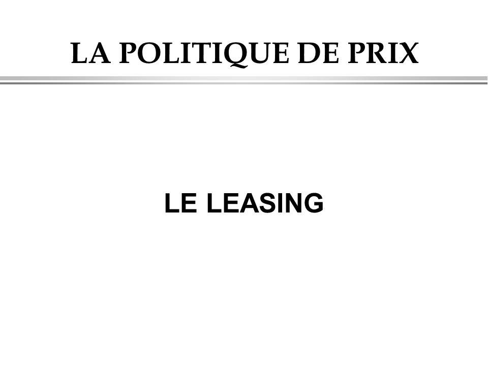 LA POLITIQUE DE PRIX LE LEASING