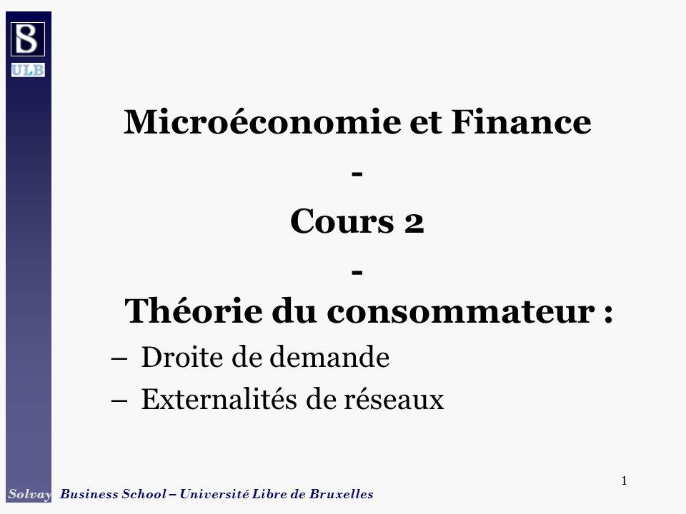 1 Solvay Business School – Université Libre de Bruxelles 1 Microéconomie et Finance - Cours 2 - Théorie du consommateur : –Droite de demande –External