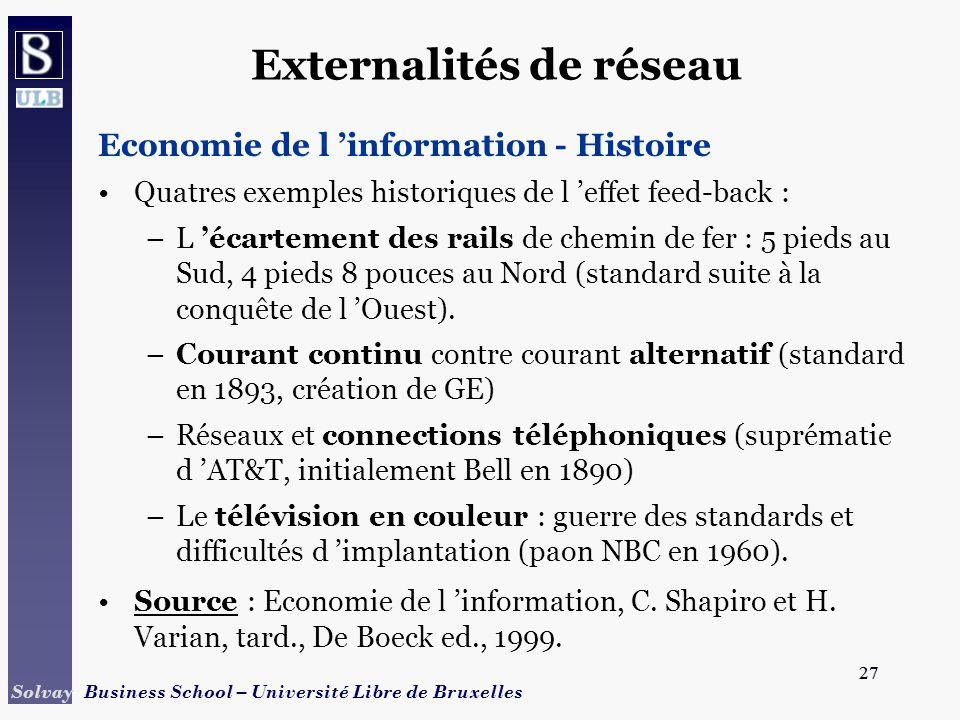 27 Solvay Business School – Université Libre de Bruxelles 27 Externalités de réseau Economie de l information - Histoire Quatres exemples historiques