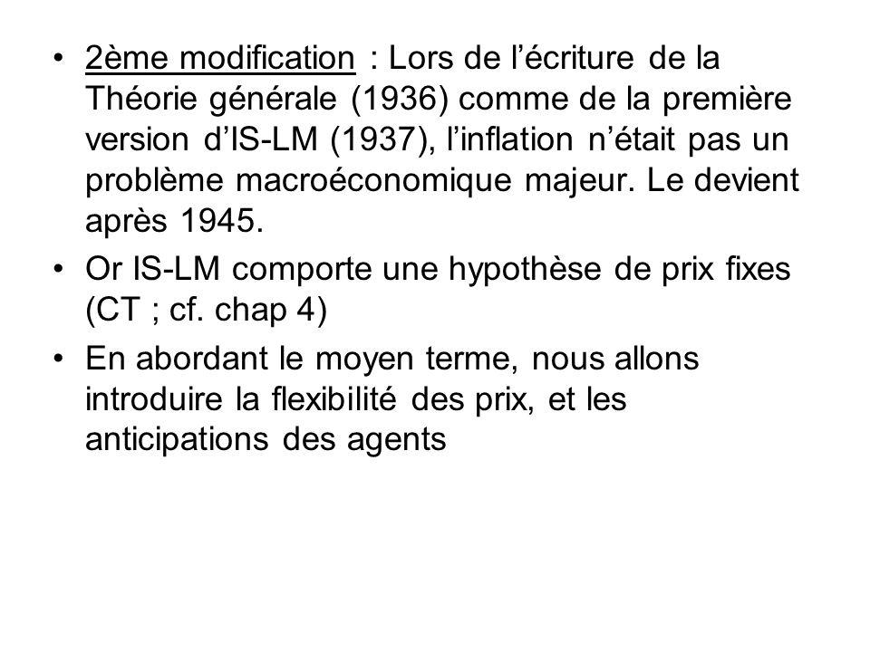 2ème modification : Lors de lécriture de la Théorie générale (1936) comme de la première version dIS-LM (1937), linflation nétait pas un problème macr