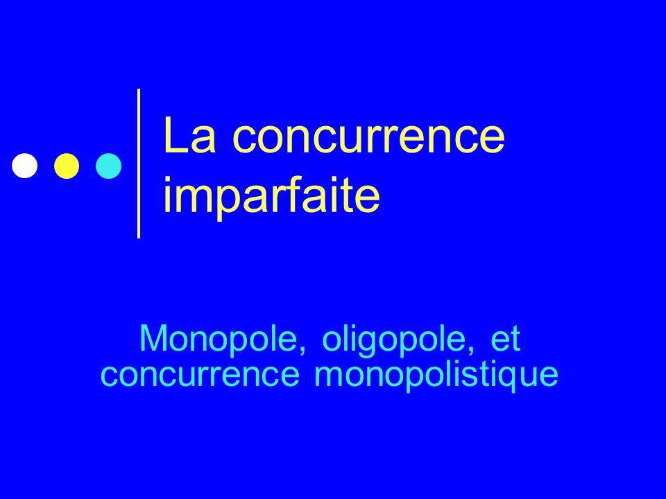 La concurrence imparfaite Monopole, oligopole, et concurrence monopolistique