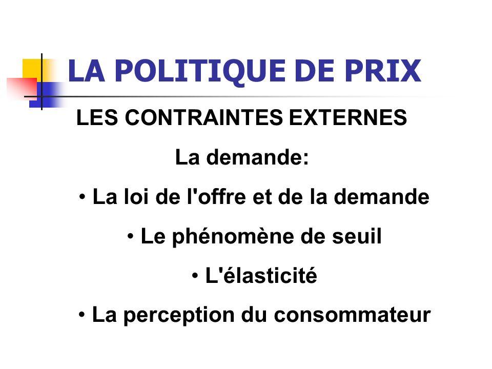 LA POLITIQUE DE PRIX LES CONTRAINTES EXTERNES La demande: La loi de l'offre et de la demande Le phénomène de seuil L'élasticité La perception du conso