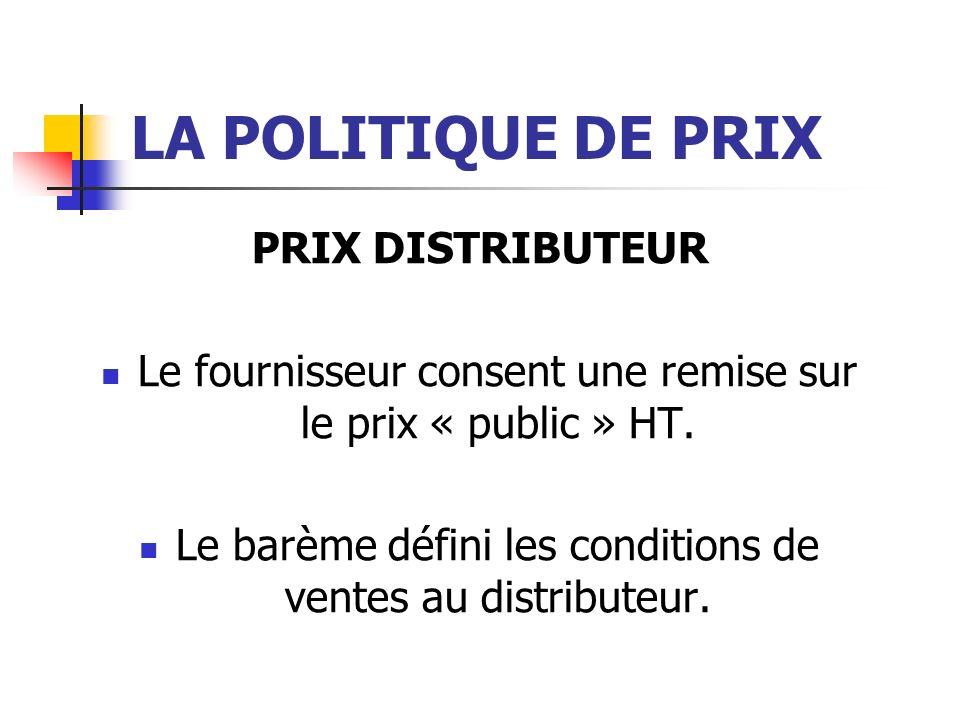 LA POLITIQUE DE PRIX PRIX DISTRIBUTEUR Le fournisseur consent une remise sur le prix « public » HT. Le barème défini les conditions de ventes au distr