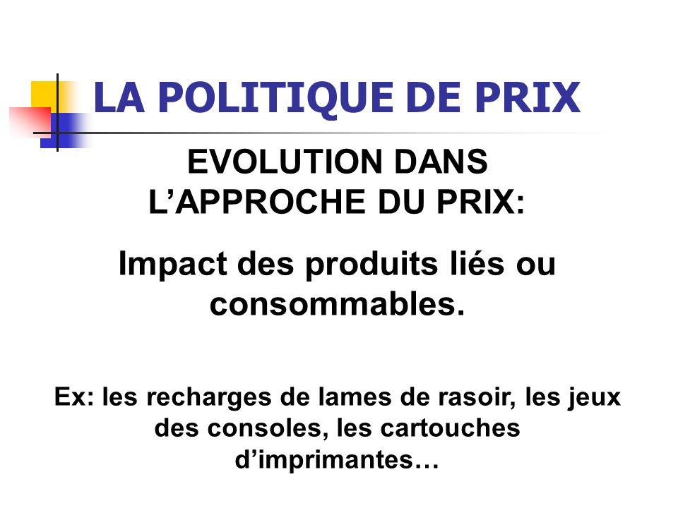 LA POLITIQUE DE PRIX EVOLUTION DANS LAPPROCHE DU PRIX: Impact des produits liés ou consommables. Ex: les recharges de lames de rasoir, les jeux des co