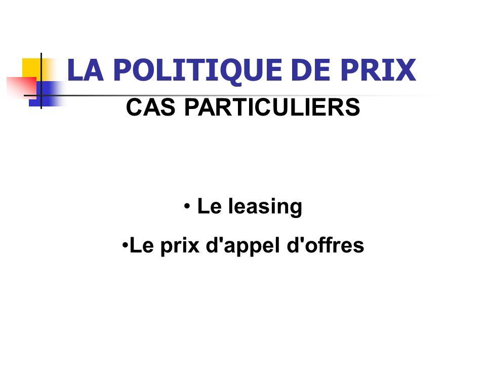 LA POLITIQUE DE PRIX CAS PARTICULIERS Le leasing Le prix d'appel d'offres
