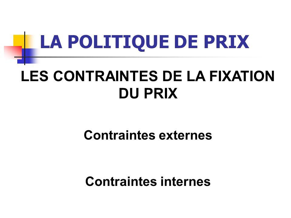 LA POLITIQUE DE PRIX LES CONTRAINTES EXTERNES La demande La concurrence L état du marché La contrainte géographique La notoriété