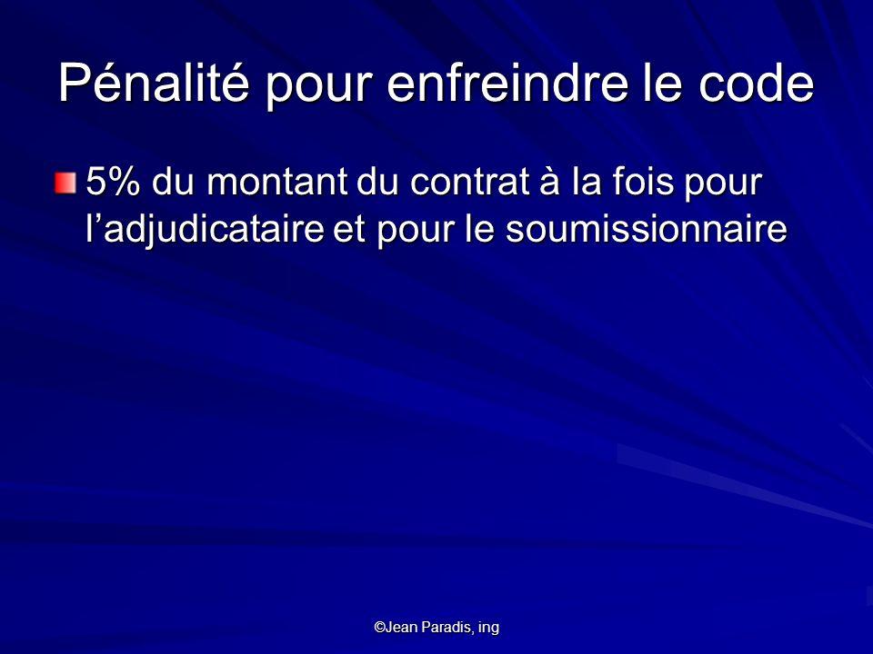 ©Jean Paradis, ing Pénalité pour enfreindre le code 5% du montant du contrat à la fois pour ladjudicataire et pour le soumissionnaire