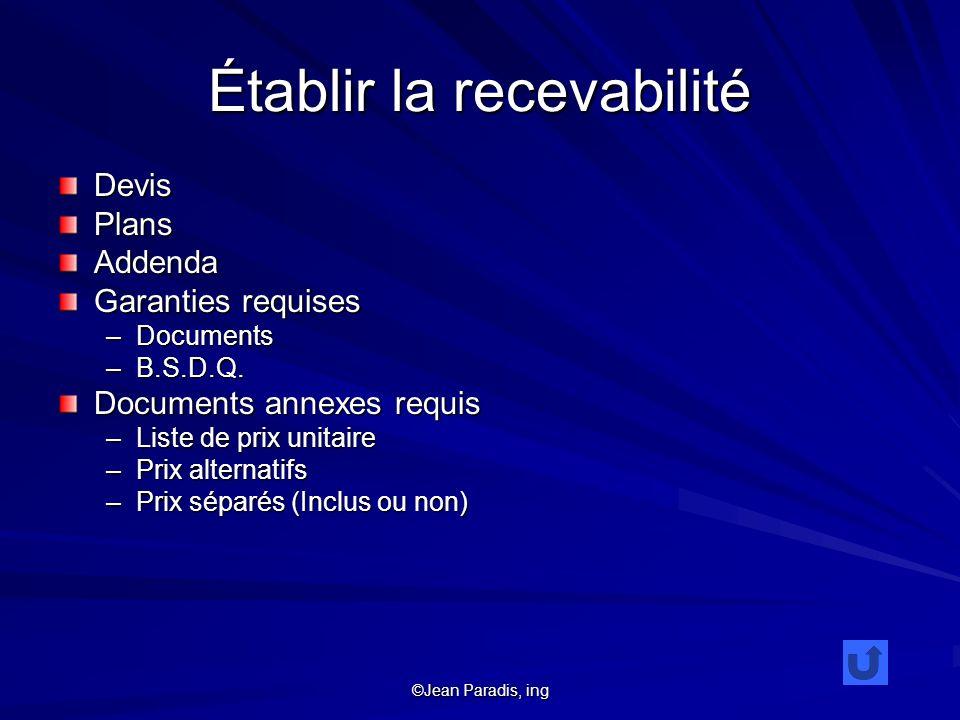 ©Jean Paradis, ing Établir la recevabilité DevisPlansAddenda Garanties requises –Documents –B.S.D.Q. Documents annexes requis –Liste de prix unitaire