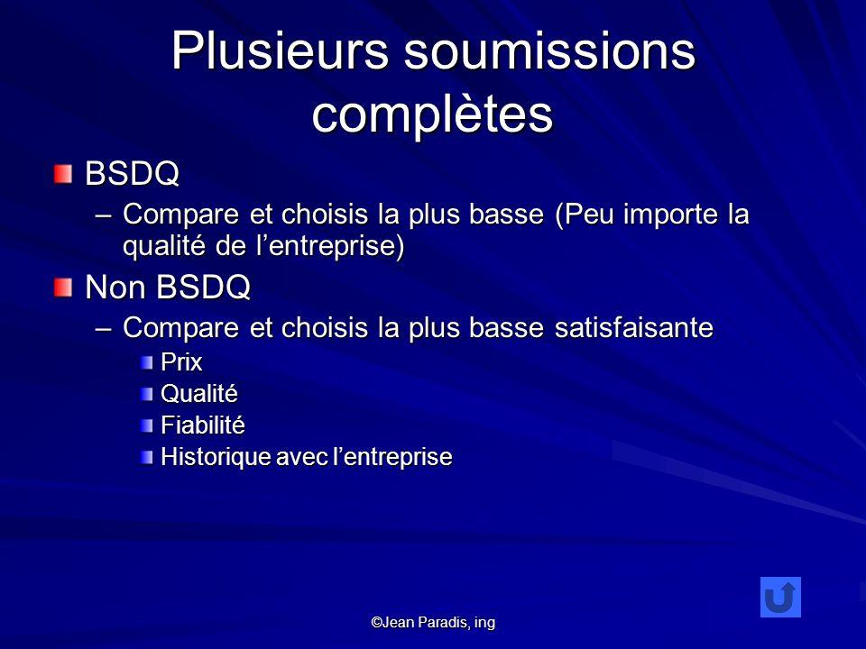 ©Jean Paradis, ing Plusieurs soumissions complètes BSDQ –Compare et choisis la plus basse (Peu importe la qualité de lentreprise) Non BSDQ –Compare et